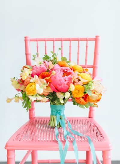pink orange and yellow color palette - summer wedding bouquetsrustic summer wedding flowers-f47341