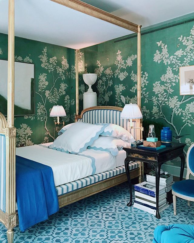 Mark D Sikes Kips Bay Showhouse Bedroom Green Chinoiserie